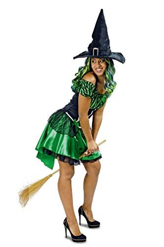 Karneval-Klamotten Sexy Damen Hexenkostüm grün-schwarz Damen-Kostüm Hexe (Schwarze Hexe Kostüm)