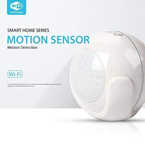 egungssensor, Mini-Weitwinkel-Smart-Bewegungssensor 2.4GHz 22.96ft Batteriebetriebener WiFi-One-Key Connect-Bewegungsmelder Funktioniert mit IFTTT, Tuya Smart und Tmall Genie ()
