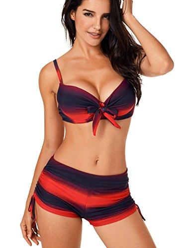 KamiraCoco sexy Bikini Set Damen Push Up Bandeau Bademode Badeanzug Badeanzüge mit Bügel Tankini Oberteile Top (L (EUR 38-40), Rote Streifen)