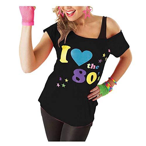 2a02f916633 VR7 Femmes I Love The 80s T Shirt Manches Courtes Femmes Rétro Pop Star T-