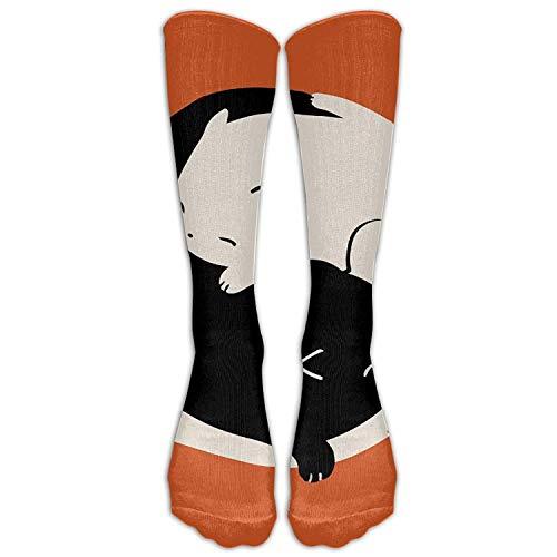 Rundafuwu Sleep Yin Yang Cat Sports Comfortable Sockens Calf High Long Novelty Socken Unisex 50CM (Oberschenkel Hohe Undurchsichtigen Strümpfe)
