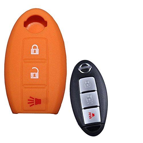 Tuqiang® Schlüsselhülle für for Nissan 1PC Orange 3 Tasten Silikon Schlüsselcover Autoschlüssel Hülle