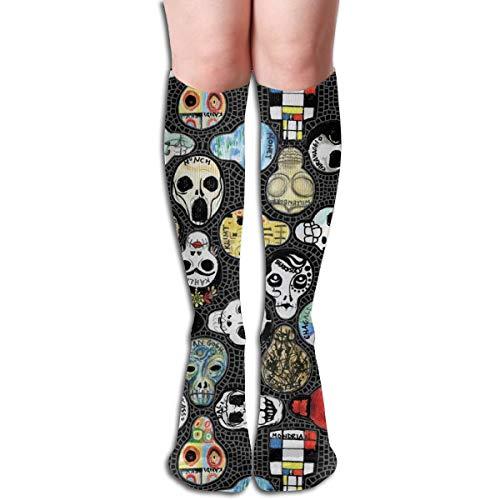 Women's Fancy Design Stocking Art Skull Multi Colorful Patterned Knee High Socks 50cm(19.6Inchs) -
