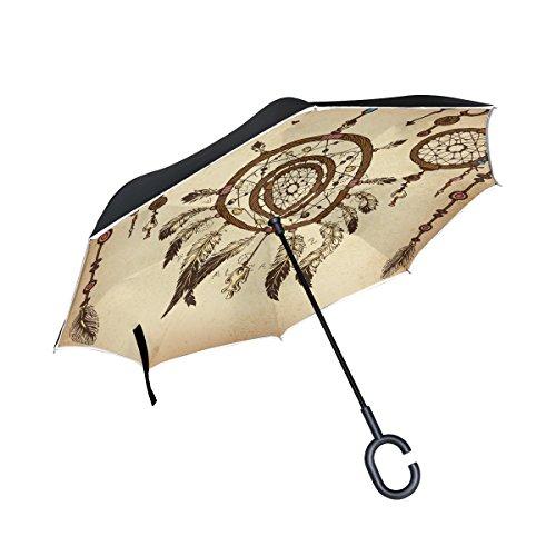 My Daily Paraguas invertido Doble Capa para Coches, Paraguas invertido, Atrapasueños, Plumas Tribales étnicas, Resistente al Viento, a Prueba de Rayos UV, Paraguas de Viaje al Aire Libre