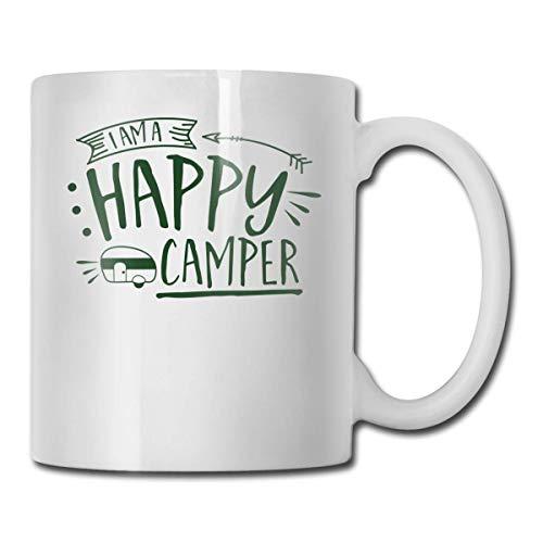 Daawqee Becher Coffee Mug 11oz Funny Cup Milk Juice Or Tea Cup I'm A Happy Camper Birthday - Becher Happy Camper