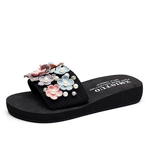 Pente avec sandales à talons hauts à bascule --- Pantoufles d'été femme Chaussures antidérapantes plates Chaussons frais Chaussures de plage de mode 2 couleurs --- Herringbone fashion sweet Sandals A
