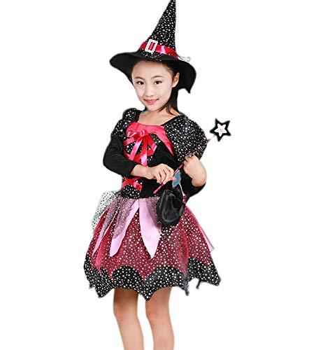 Keephen Halloween Prinzessin Mädchen Kleidung Hexe Kostüm Kleid Zauberstab Crescent Hat Candy Bag Zauberstab Für 4-13 Jahre ()