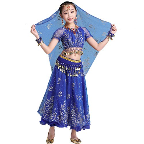 Magogo Mädchen Bauchtanz Kleid Bollywood Indian Folk Kids Arabian Performance Kostüm Karneval Outfit (130-155cm/51-61in, Dunkelblau)