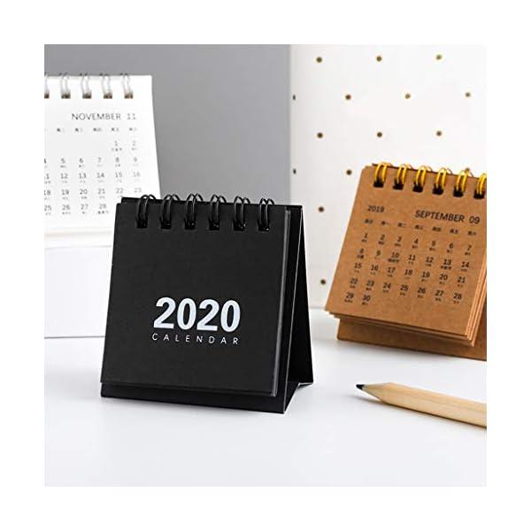 RROVE Table Calendar 2020 Año Nuevo Mini, Creativo Simple Bobina de Escritorio Bloc de Notas Calendario Kraft 2