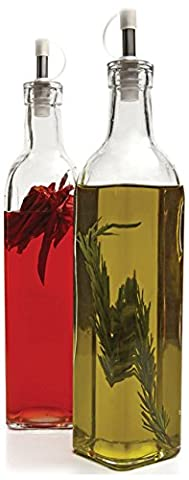 Circleware Kitchen Glass Olive Oil and Vineger Glass Dispenser Bottles, Set of 2, 16 Ounce, Limted Edition Glassware Serveware