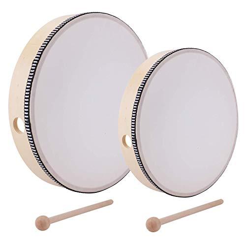 Lawei 2-teilig Handtrommel mit Schlägel Percussion Musikinstrument Pädagogisches Spielzeug für Kinder Party - 25,5 cm & 20,3 cm