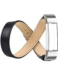 Replacement Armband für Fitbit Alta / Fitbit Alta HR, Wearlizer Ersatz Doppel Tour Lederarmband Wrist Band Watchband Strap Uhrenarmband Erstatzband mit Schnalle für Fitbit Alta