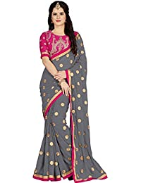 Vaidehi Fashion Women's Georgette Embroidery Saree With Blouse Piece