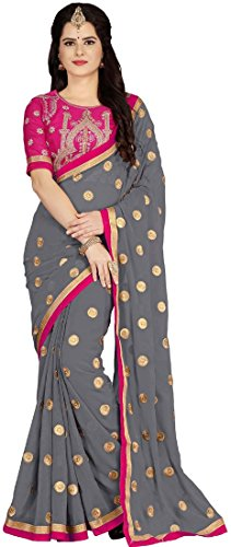 Vaidehi Fashion Georgette Saree With Blouse Piece (730464044219_Pink_Free Size)