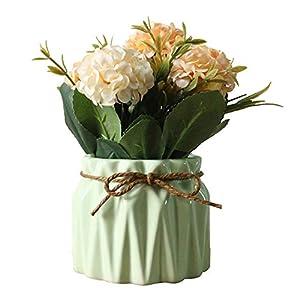 AZXAZ Flores Hortensia Artificiales con Macetero,Ramo de Flores de Seda Artificiales con Jarron de Cerámica para de Bodas, Fiestas, hogar y al Aire Libre (Amarillo)