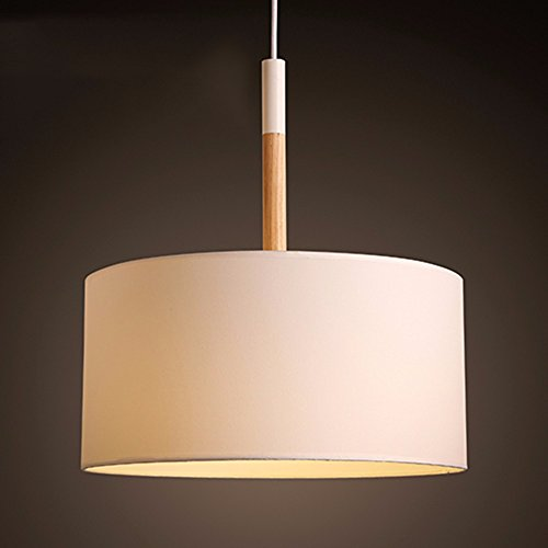 LighSCH Lustre Suspension Plafonnier Vintage Shabby Chambres Chambre à coucher moderne restaurant chaleureux cercle abat-jour en tissu blanc,les Lampes lumière chaude 40 * 46cm