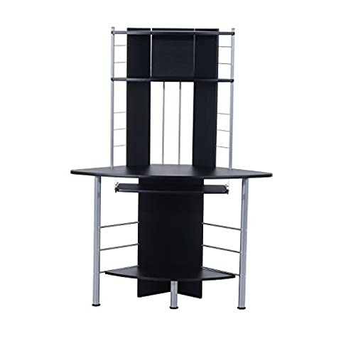 HOMCOM Computer Desk Compact Corner PC Table Workstation with 3 Shelves Home Office Furniture (Black)