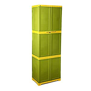 Cello Novelty Large Storage Cupboard with 4 Shelves (Green and Yellow)