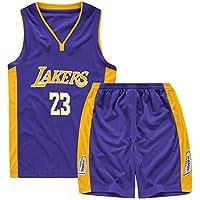 Hombres Camiseta de Baloncesto, Lakers 23 Lebron James Swinger Jersey, Camisetas de Baloncesto Trajes de Verano Kits Top + Short-Blue-L