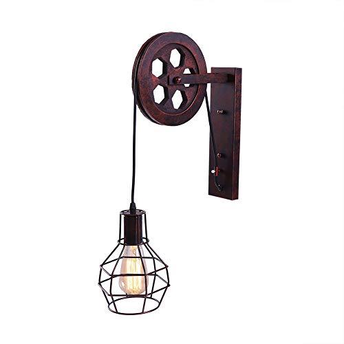 Lámpara de Pared Estilo Industrial Vintage de Polea, Aplique E27 para Pasillo Corredor,Vestíbulo...