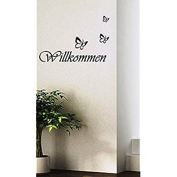Wandtattoo-Wandaufkleber Spruch ***Willkommen inkl. 3 Schmetterlinge*** – (Größen.- und Farbauswahl)