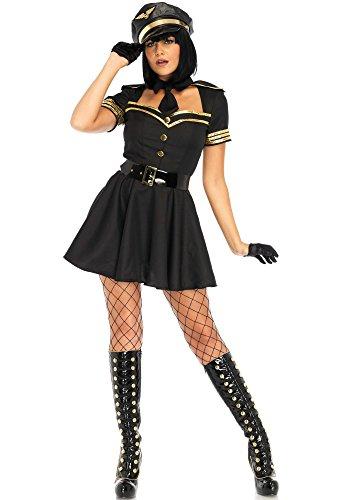 Leg Material (Leg Avenue LO85643 Flirty Flight Captain Kostüm, Schwarz, Large (EUR 40))