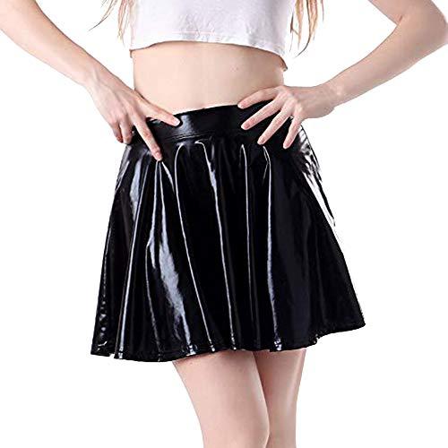 Xmiral Dance Rock Damen Leder Ausgestelltes Reflektives Plissee A-Line Kostüm Petticoat Unterkleid(L,Schwarz)