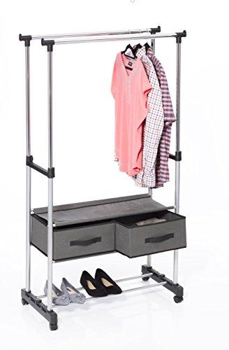 Exhibidor de ropa de doble riel con soporte y cajones de lona