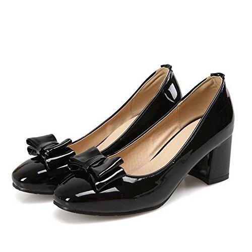 AllhqFashion Damen Lackleder Rein Ziehen Auf Quadratisch Zehe Mittler Absatz Pumps Schuhe Schwarz