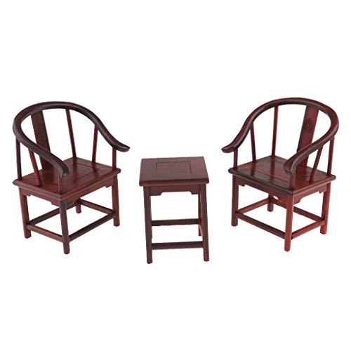 MagiDeal 1/6 Puppenhaus Möbel Miniatur Vintag Holz Teetisch Hocker Sessel Stühle Beistelltisch Bett Holzmöbel Puppenstubenzubehör - E