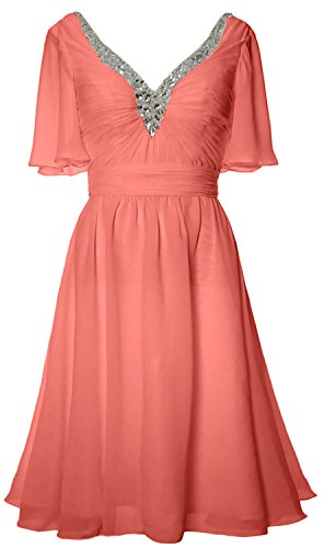 MACloth Women Short Sleeves Mother of Bride Dress V Neck Evening Formal Gown Blush Pink