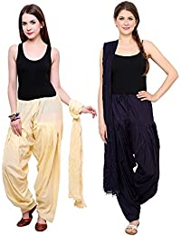 Mango People Products Patiala Salwars And Dupatta Set Combo(Free Size, Off White & Navy Blue Colour By Mango People...