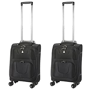 """Aerolite Super Lightweight Carry On Hand Cabin Luggage Suitcase with 8 Wheels (2 x 21"""" (55x35x20) Cabin, Black)"""