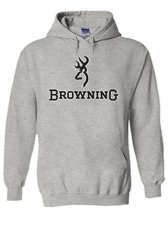 Browning Shotgun Hunting Cool Novelty Grey Men Women Unisex Hooded Sweatshirt Hoodie-S (Hunting Shotgun)