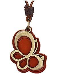 MULBA mujeres collar de cuero genuino Zapatos Colgante Collar Pl3361 (Rojo) iTKiolyw