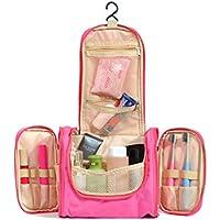 sminiker Hanging–Borsa da Toilette Trousse da viaggio portatile per donna Hanging Kit per toeletta Organizzatore per Accessori da Viaggio e articoli da toeletta (Rosa)
