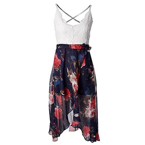 Blooming Jelly Women's Halter Neck Deep V Asymmetrical Floral Dress