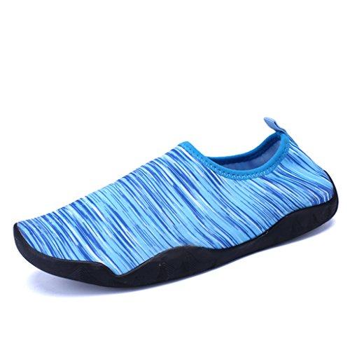 Bevoker Unisex Badeschuhe Trandschuhe Sapatos De Água Escorregar Sapatos De Secagem Rápida Flutuantes Descalços Sapatos Aqua Sapatos Para Senhoras Homens Azul Crianças