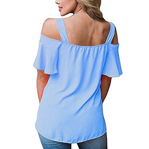 BLACKMYTH Femme Sexy Cold Shoulder Tops Décontractée Ruffles Manches courtes T-shirt V-cou Loose Blouse Bleu ciel