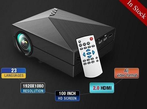 CROCON Original GM-60 LED Projector 1000 Lumens HDMI USB VGA TV Home Theater