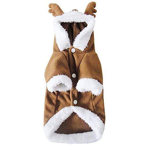 Zhongsufei Mäntel Haustierkleidung Christmas Fleece Elk Pets Dress Up Herbst Winterkleidung Winter Welpen Haustiere Outfits (Größe : ()