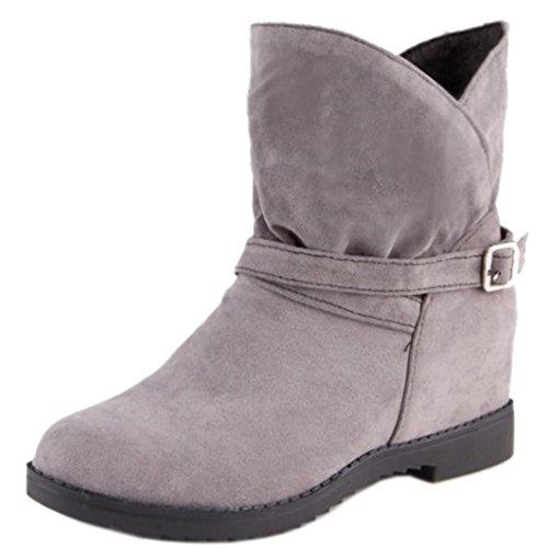 TAOFFEN Femmes Conforte Bottes Slouch Talon Compense Avec Bow 236 Grey