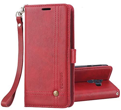 Ferilinso Hülle Kompatibel mit Xiaomi Pocophone F1, Elegantes Retro Leder mit Identifikation Kreditkarte Schlitz Halter Schlag Abdeckungs Standplatz magnetischer Verschluss Kasten (Rot)