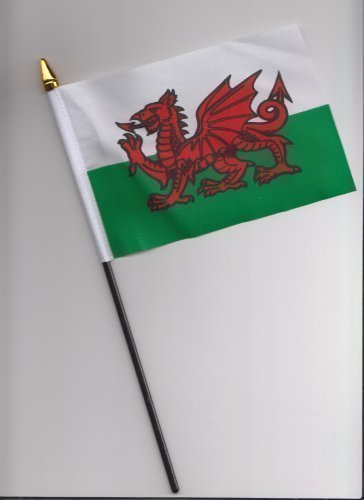 Drapeau Pays de Galles Motif Dragon gallois main 25 cm