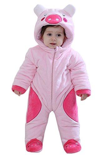 2b716161bf8a9 Y-BOA Pyjama Dors Bien Flanelle Enfant Bébé Combinaison Hiver Chaude  Déguisement Animal Rompers Rose