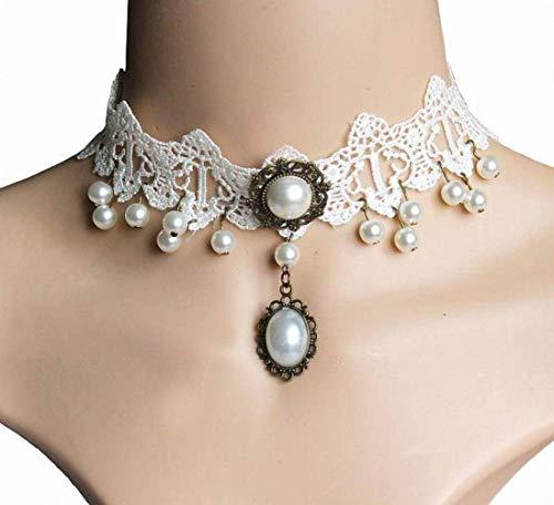 Golden_flower Mode Kreative Sexy Spitze Perlenkette Schlüsselbein Kette Gefälschte Kragen Mutter Schmuck, Weiß, Umfang: 21 cm-50 cm