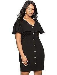 f98695cf3381 Fandecie Donna Plus Size Manica a Tubino con Motivo a Maniche Corte  Vestitino Corto a Maniche