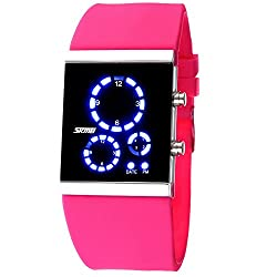 Skmei Stylish Colorful Led Digital Black and Silver Dial Women Watch - 0984