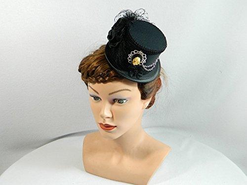 Mini Zylinder schwarz Damenhut Hut Fascinator Cocktail Hütchen (Edwardian Kostüm Ball)