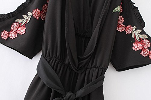 Ouneed® Femme Mode Broderie Rose Combishort Epaule Nu Jumpsuit de Plage Noir